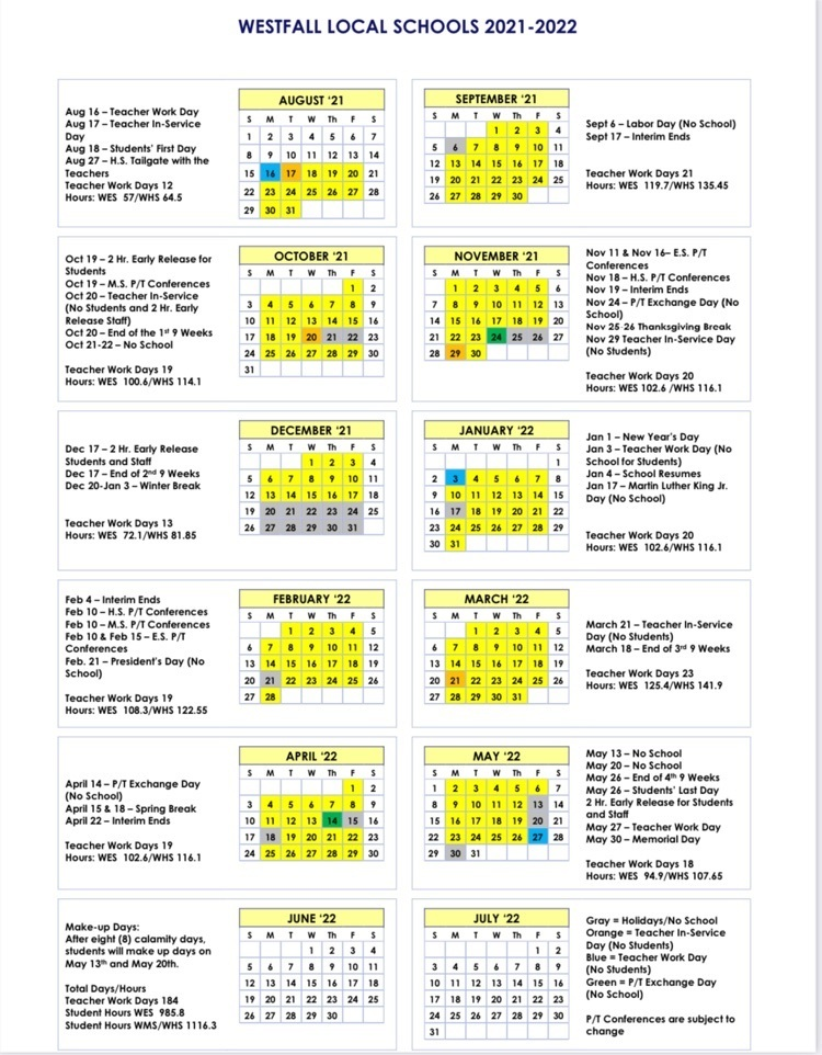 2021-2022 District Calendar