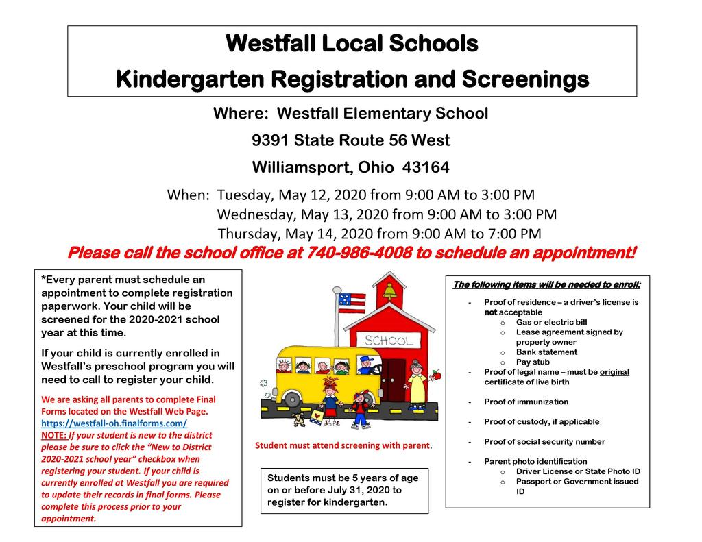 Kindergarten Registration and Screenings